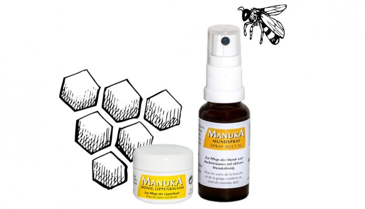 Produkte mit Manuka Honig: Lippenbalsam und Mundspray