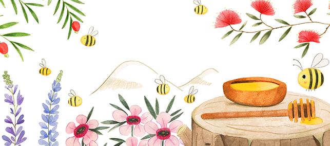 Zeichnung von herumfliegenden Bienen in Neuseeland, die Manuka Honig herstellen. Eine Biene ist neben einer Holzschale, die mit Manuka Honig gefüllt ist.
