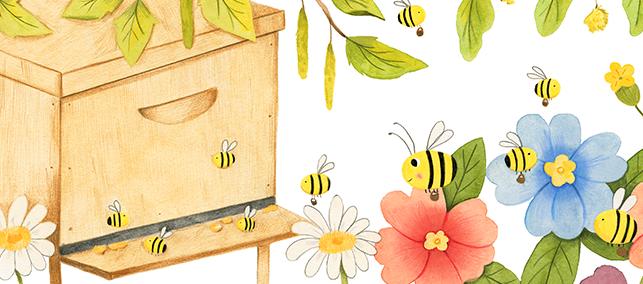 Zeichnung von Bienen, die Baumharze sammeln, um Propolis herzustellen. Weitere Bienen bauen mit bereits hergestellter Propolis den Bienenstock aus.